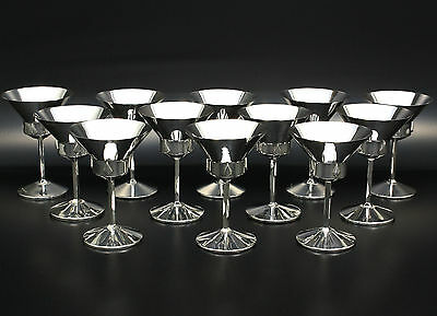12 Cocktailkelche Kelche Becher Sterling Silber Art Deco