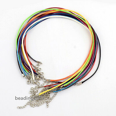 100pcs Waxed Cotton Cord Necklace Makings with Lobster Claw Clasp Mixed Color