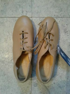 "Sansha Women Tan 1"" heel Lace-up Oxford Tap Shoes US 4 Eu 36"