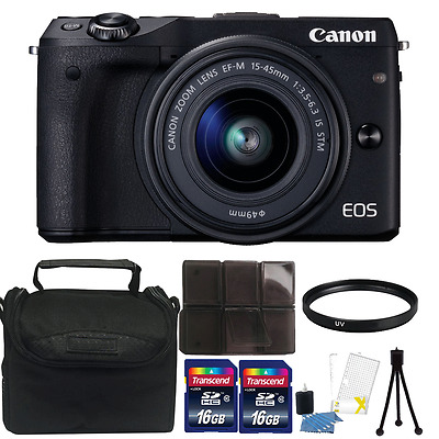 Canon EOS M3 Mirrorless Digital Camera + EF-M 15-45mm Lens + 52mm Accessory Kit