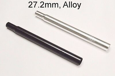 """Black or Silver Alloy 1/"""" Seat Post 25.4mm or 27.2mm Cruiser Bicycle ROAD MTB BMX"""