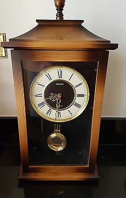 Seiko antique working clock with sound chiming wall clock with pendulum. Vintage