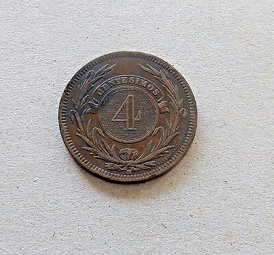 URUGUAY 4 CENTESIMOS 1869 H 20.00 g., 35mm BRONZE COIN - #273!