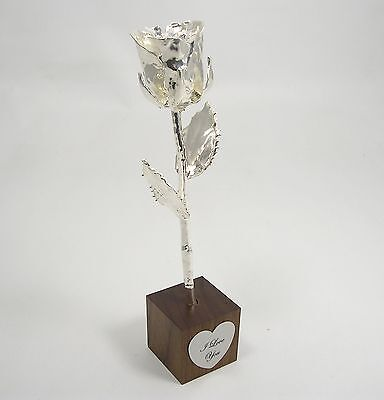 """8"""" Silver All Dipped Rose In """"I Love You"""" Stand (Free Anniversary Gift Box)"""