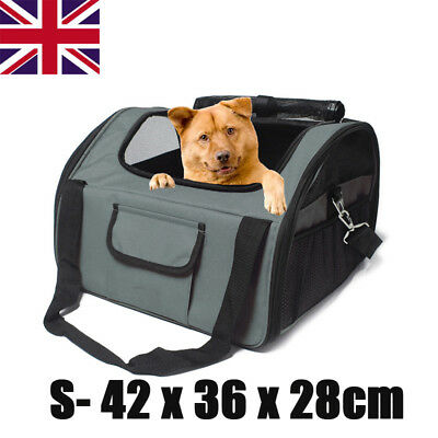 Portable Foldable Pet Carrier Dog Cat Car Booster Seat Soft Cage Travel Bag Gray