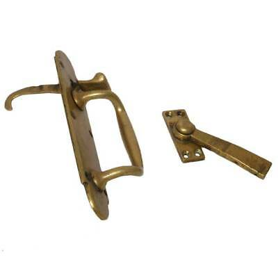 Antique English Late Victorian Brass Door Handle and Latch c. 1900