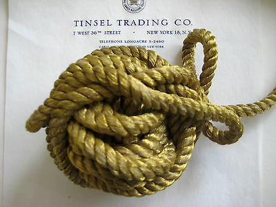 """Vintage Antique French Gold Metallic Rope Cord Trim 3/8"""" Pillow"""