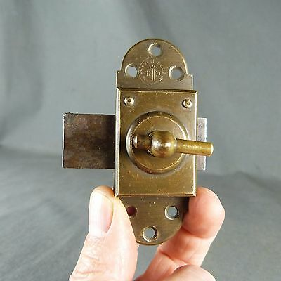 Antique French,  Brass & Iron Slide. Bolt Latch Lock Rustic, Handmade