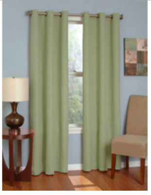 Eclipse Microfiber Thermaback Grommet Blackout Curtain Panel 63 L Moss Green New