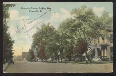 Postcard EVANSVILLE Indiana/IN  Riverside Ave Large Family Houses/Homes 1907
