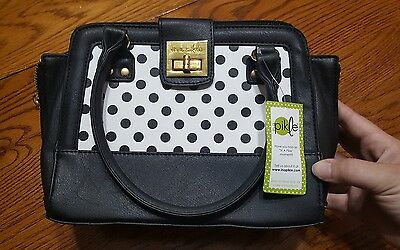 In A Pikle Black and White Polka Dot Bag, with inserts and strap, NWT