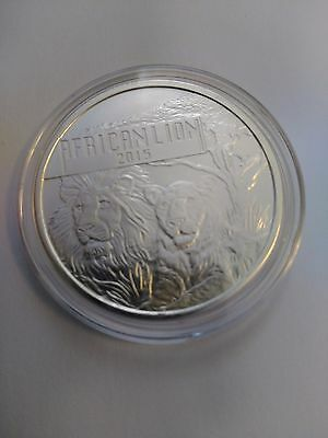 1 Oz .999 Pure Silver 2015 Burundi African Lion Coin in Free Capsule
