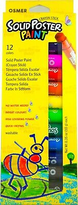 Osmer Crayon Stick Poster Paint Solid Washable 12 Colours