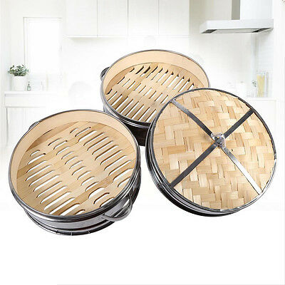 Stainless Steel Rice Cooke Healthy 2 Tier Bamboo Steamer Vegetables Fish Basket