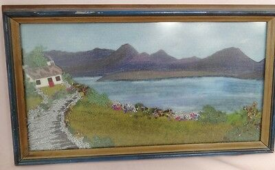 IRISH TWEED picture / scene of cottage beside lake, vintage, framed,  8x15