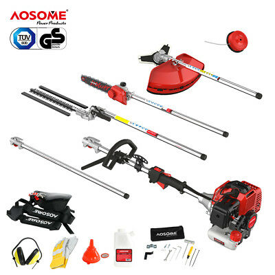 52cc 5 in 1 Petrol Hedge Grass Trimmer Chainsaw Brushcutter Garden Multi Tool