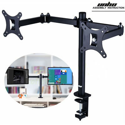 """Dual Arm Adjustable Computer Monitor Desk Mount Stand fits up to 30"""" Stand"""