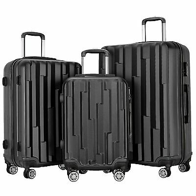 3 Piece Luggage ABS Hardshell Spinner Set Travel Suitcase Carry Suitcase Black
