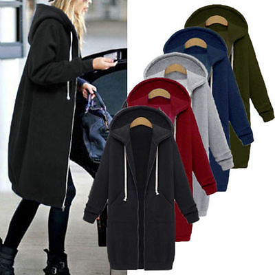 AU Plus Size Womens Winter Zipper Hoodies Hooded Long Coat Jacket Tops Outwear