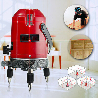 5 Lines 6 Point Red Laser Level 360° Rotary Laser Line Self-leveling + Tripod