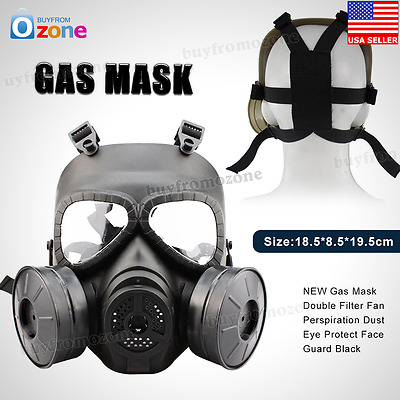 Gas Mask Double Filter Fan Perspiration Dust Eye Protect Face Guard Black A+ NEW