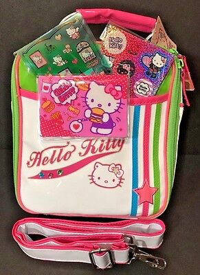 Sanrio Hello Kitty Vinyl Insulated Lunch Tote Bag w/ Strap + ID Case & Stickers