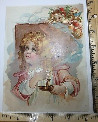 Victorian trade card RARE CHRISTMAS ADV. Woolson Spice and Lion Coffee, MINT