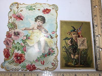 Victorian trade cards lot of 2 Union Pacific Tea, DIE CUT C D Kenny importer