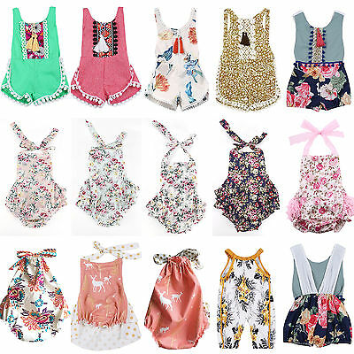 Newborn Baby Girl Floral Romper Bodysuit Jumpsuit Outfits Sunsuit Clothes Summer