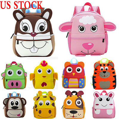 Cute Kid Boy Girl Toddler Backpack Kindergarten Schoolbag 3D Cartoon Animal Bag
