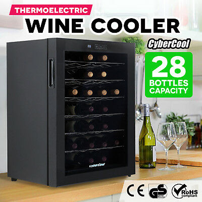 NEW 28 Bottle Thermoelectric Wine Cooler Chiller Storage Fridge Cellar Cabinet