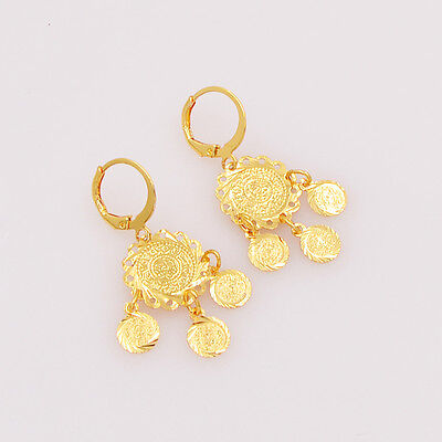 Arabic Women Gold Plated Ic Coin Drop Earrings Jewelry