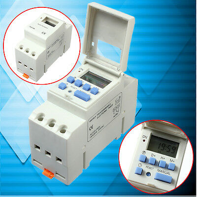 220V 16A DIN Rail Digital Programmable Timer Relay Delay Switch DIN Rail Mount
