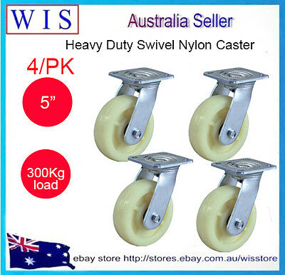 4/PK 125mm Top Plate Fitting Nylon Wheels,Swivel Castors 300Kg Capacity-20196