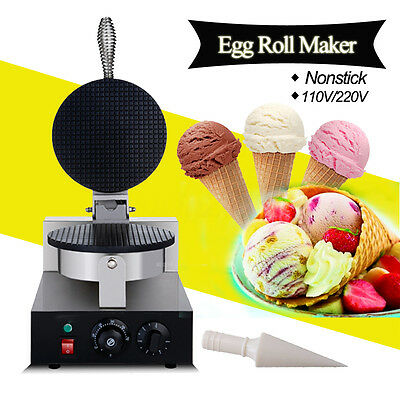 Commercial Electric Stainless Steel Ice Cream Waffle Cone Maker Egg Roll Machine