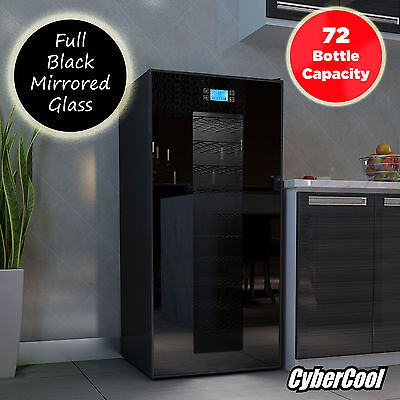 CyberCool Mirror Effect 72 Bottle Thermoelectric Black Wine Cooler Fridge Cellar