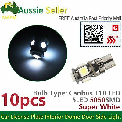 10PCS CANBUS T10 LED Wedge Light Parker Number Plate Bulbs W5W 194 168 131 WHITE