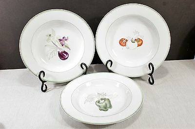 LOT / 3 Block Spal Watercolors Rimmed Soup Bowls, Tomato, Green Pepper, Eggplant