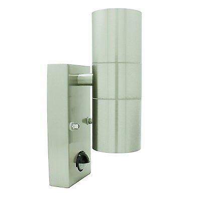 Opus Outdoor Stainless Steel Wall Up Down Light GU10 IP44 with PIR Motion Sensor