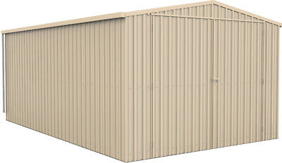 ABSCO SINGLE GARAGE 3.5m x 5.5m DOUBLE BARN DOORS Sheds Colorbond CLASSIC CREAM