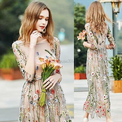 AU Women Embroidered Floral Lace Sheer Mesh Dress Boho Party Evening Long Dress