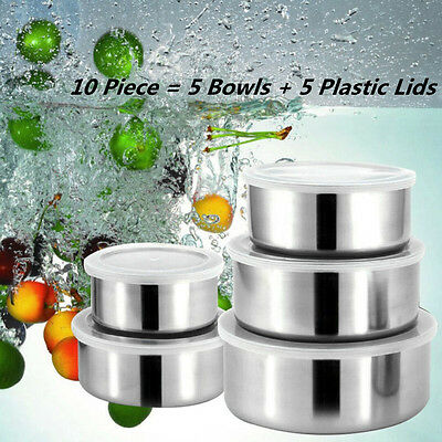 10Pcs STAINLESS STEEL 5 BOWL SET WITH 5 PLASTIC LIDS KITCHEN STORAGE CONTAINER