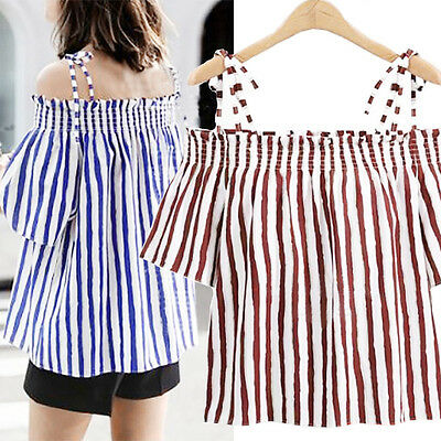 Sexy Summer Off Shoulder Blouse Womens Ladies Striped Bandage T Shirt Tops 2017