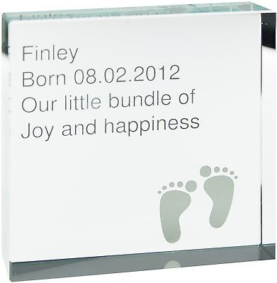 Personalised Footprint Large Crystal Token - Free Delivery