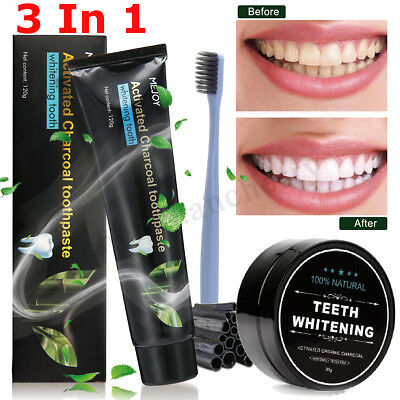 Organic Activated Charcoal Whitening Teeth Coconut Shell Powder Carbon Coco Kit