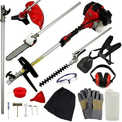 Garden Multi Tool Petrol 5 In 1 Lawn Hedge Trimmer Cutter Strimmer Chainsaw 52cc