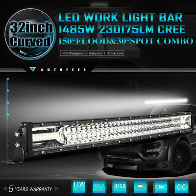 """7D+ CREE Curved 32"""" inch 1485W LED Work Light Bar Spot Flood Offroad Driving 4WD"""