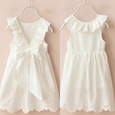 Girls Toddler Lace Princess Dress Kids Baby Party Pageant Wedding Sundress White