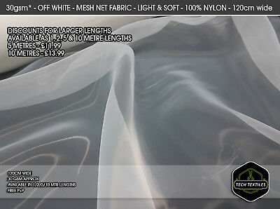 WHITE (120cm wide) - SOFT & FINE TULLE MESH FABRIC MATERIAL - WEDDING DRESSES