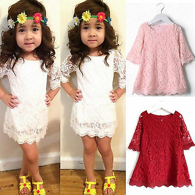 Girls Kids Baby Lace Crochet Princess Dress Party Wedding Casual Dresses Summer